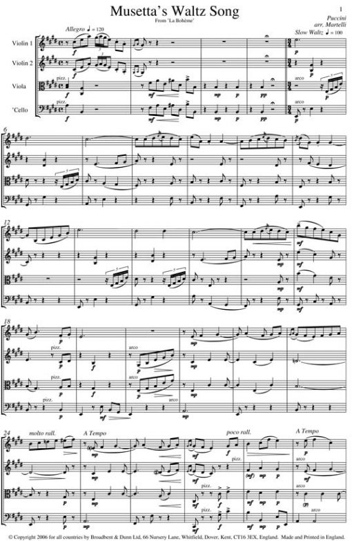 Puccini - Musetta's Waltz Song from La Bohème (String Quartet Parts) - Parts Digital Download
