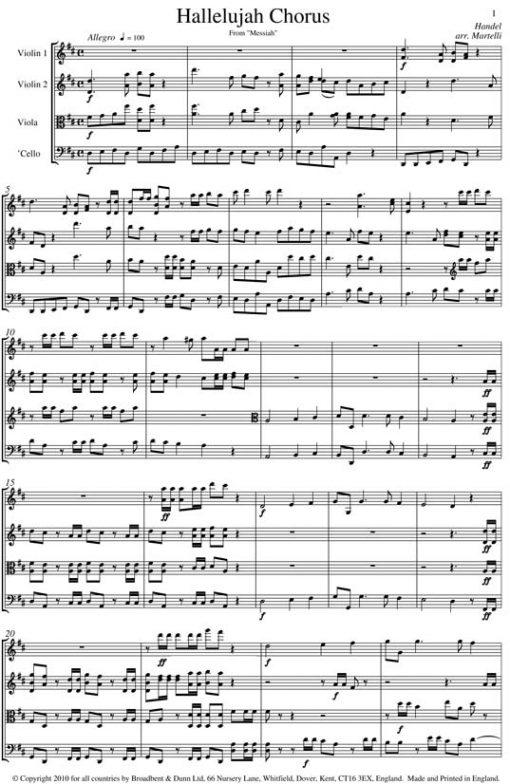 Handel - Hallelujah Chorus from Messiah (String Quartet Parts) - Parts Digital Download