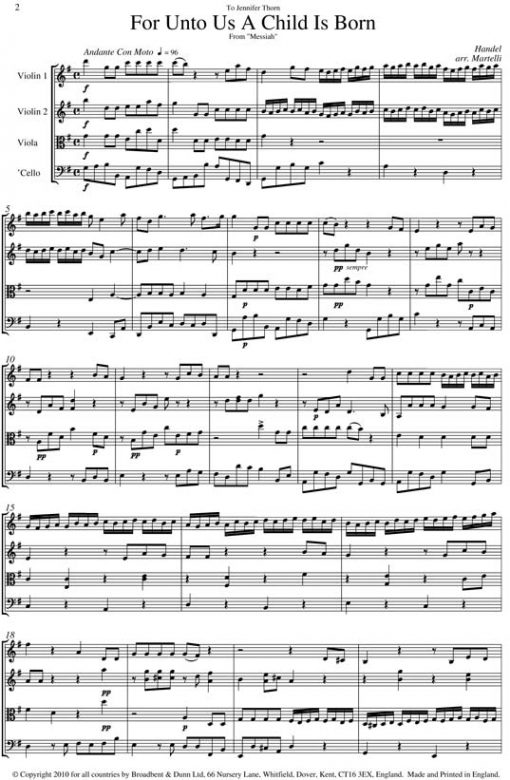 Handel - For Unto Us A Child Is Born from Messiah (String Quartet Parts) - Parts Digital Download