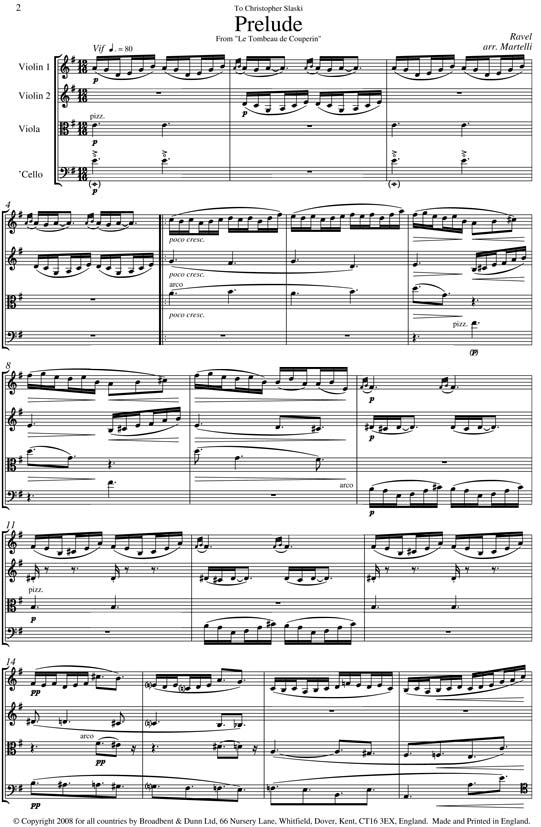Ravel - Prelude from Le Tombeau de Couperin (String Quartet Score) - Score  Digital Download