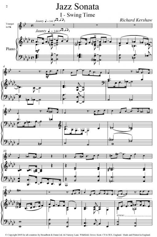 Richard Kershaw - Jazz Sonata (Trumpet in B Flat & Piano) - Digital Download