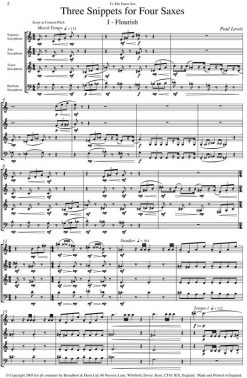 Paul Lewis - Three Snippets for Four Saxes - Score Digital Download