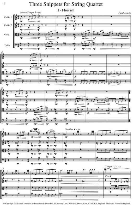 Paul Lewis - Three Snippets for String Quartet - Score Digital Download