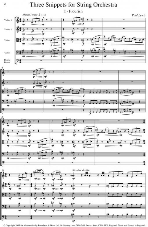 Paul Lewis - Three Snippets for String Orchestra - Violas Digital Download