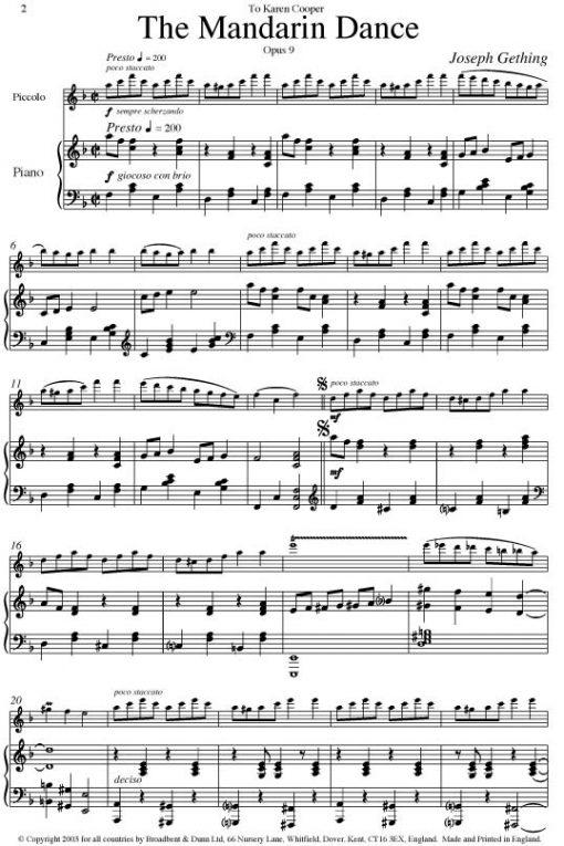 Joseph Gething - Pieces For Piccolo (Piccolo & Piano) - Digital Download