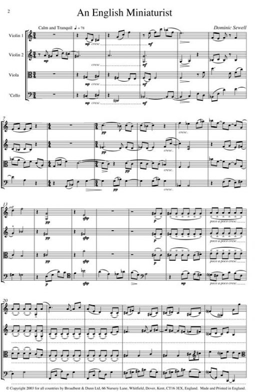 Dominic Sewell - An English Miniaturist (String Quartet) - Parts Digital Download