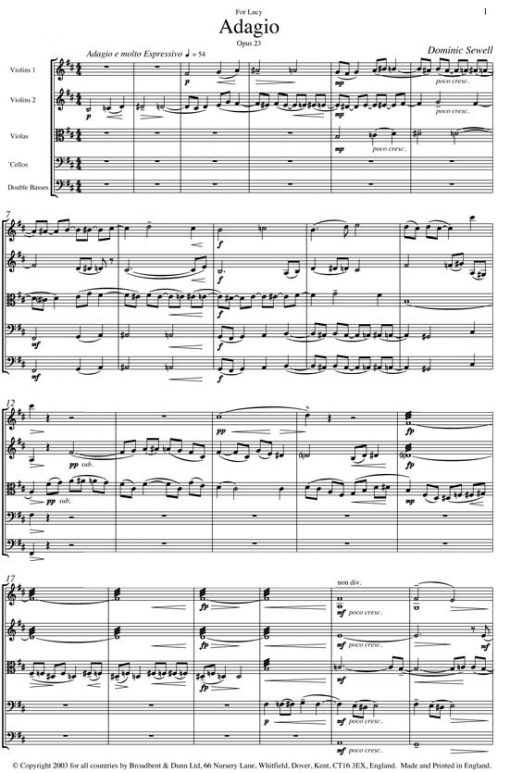 Dominic Sewell - Adagio for String Orchestra - Double Bass Digital Download
