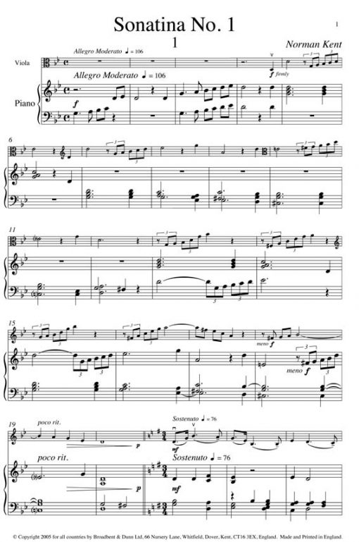 Norman Kent - Sonatina No. 1 (Viola & Piano) - Digital Download