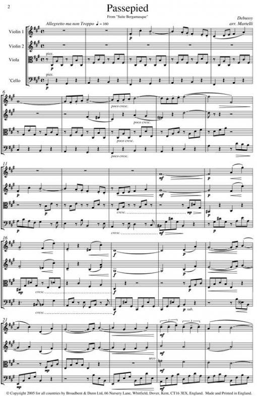 Debussy - Passepied from Suite Bergamasque (String Quartet Score) - Score Digital Download