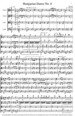 Brahms - Hungarian Dance No. 6 (String Quartet Score) - Score Digital Download