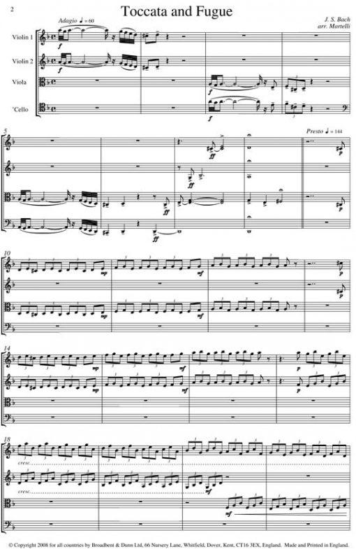 Bach - Toccata and Fugue (String Quartet Parts) - Parts Digital Download
