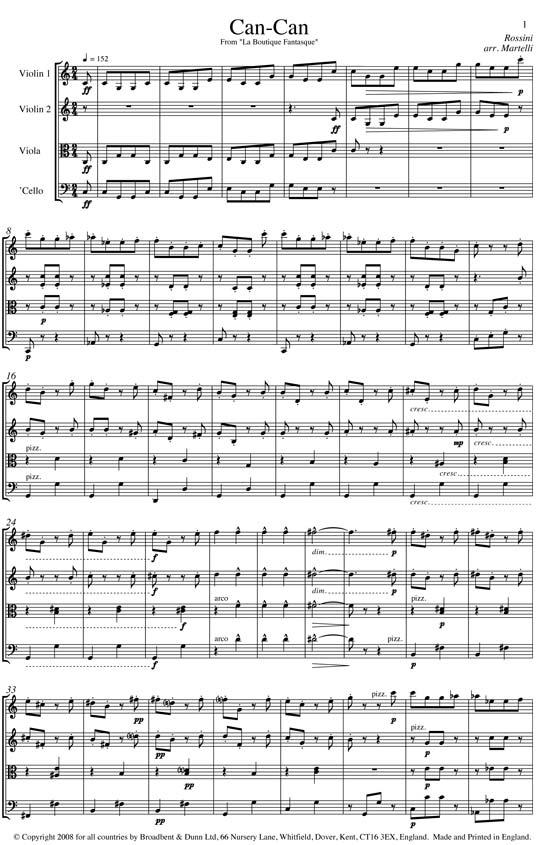 Rossini - Can-Can from La Boutique Fantasque (String Quartet Score) - Score  Digital Download