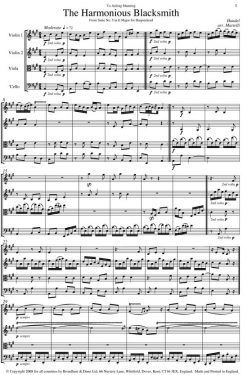 Handel - The Harmonious Blacksmith from Suite No. 5 in E Major for Harpsichord (String Quartet Score) - Score Digital Download