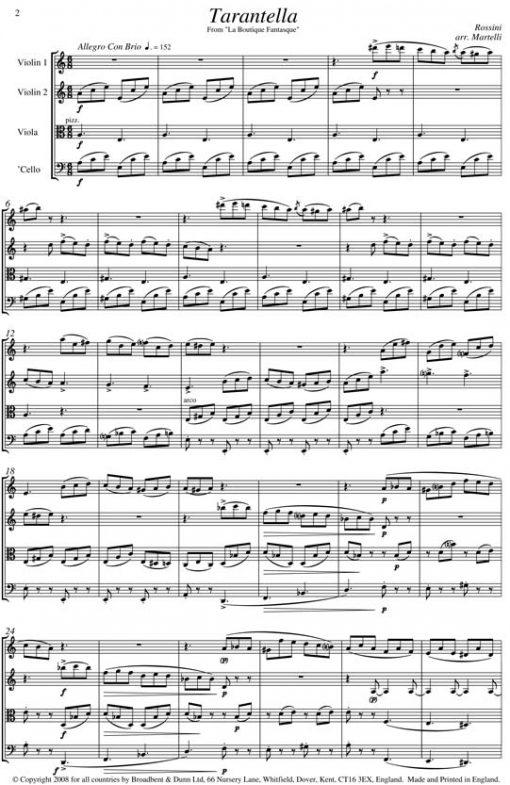 Rossini - Tarantella from La Boutique Fantasque (String Quartet Parts) - Parts Digital Download