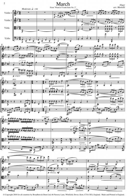 Elgar - March from Wand of Youth Suite No. 2 (String Quartet Parts) - Parts Digital Download