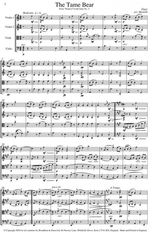 Elgar - The Tame Bear from Wand of Youth Suite No. 2 (String Quartet Parts) - Parts Digital Download