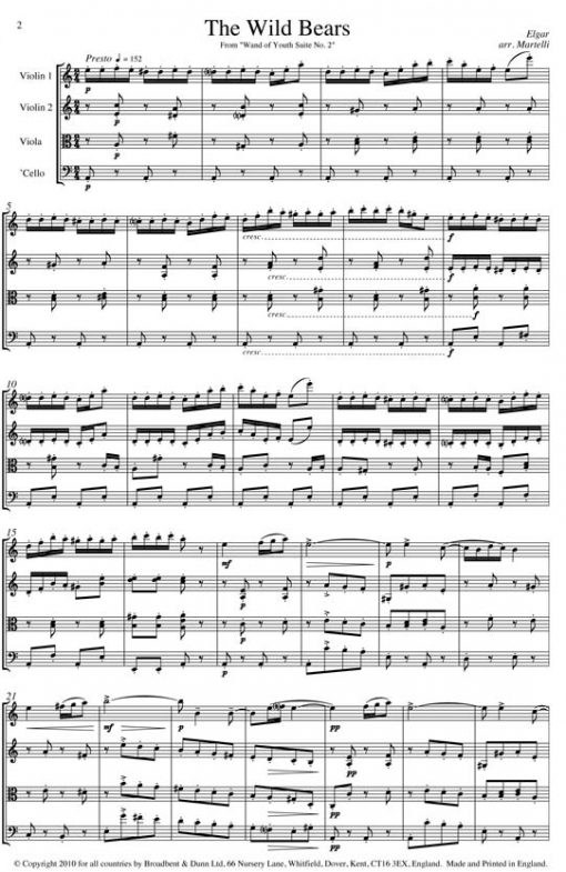 Elgar - The Wild Bears from Wand of Youth Suite No. 2 (String Quartet Score) - Score Digital Download