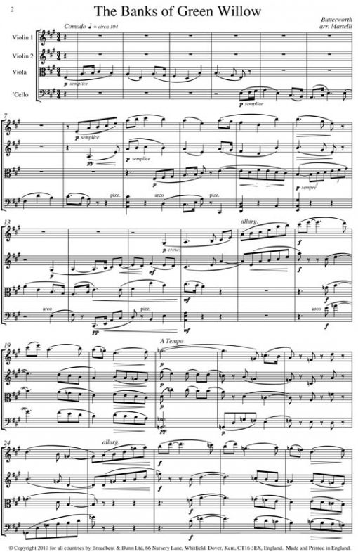 Butterworth - The Banks of Green Willow (String Quartet Score) - Score Digital Download