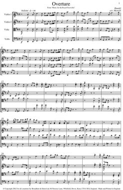 Handel - Overture from Music for the Royal Fireworks (String Quartet Score) - Score Digital Download