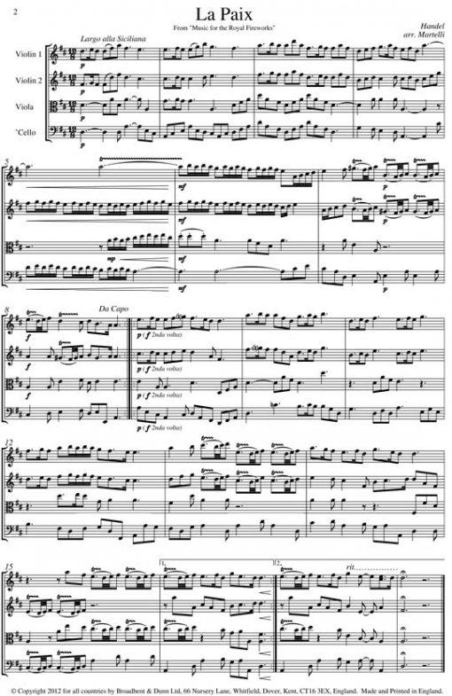 Handel - La Paix and La Réjouissance from Music for the Royal Fireworks (String Quartet Score) - Score Digital Download