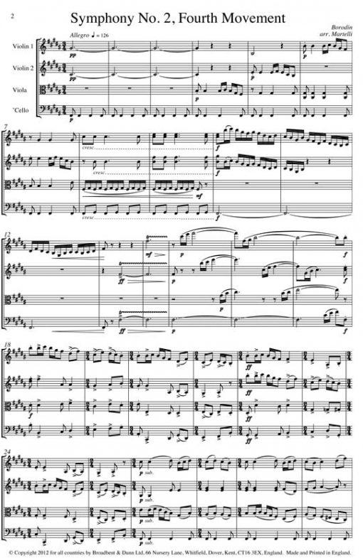 Borodin - Symphony No. 2 Movement 4 (String Quartet Parts) - Parts Digital Download