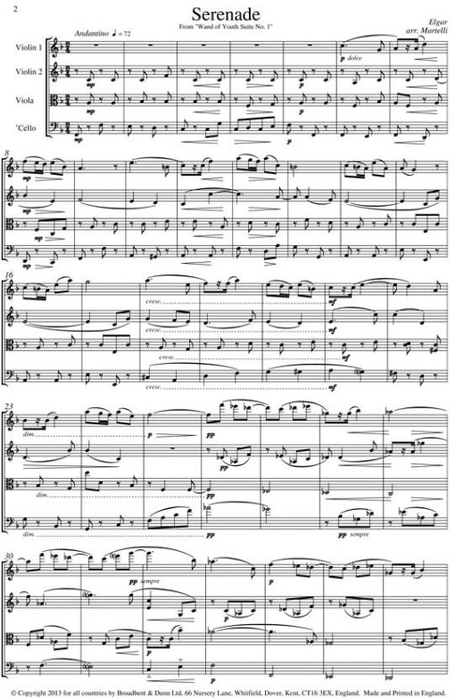 Elgar - Serenade from Wand of Youth Suite No. 1 (String Quartet Parts) - Parts Digital Download