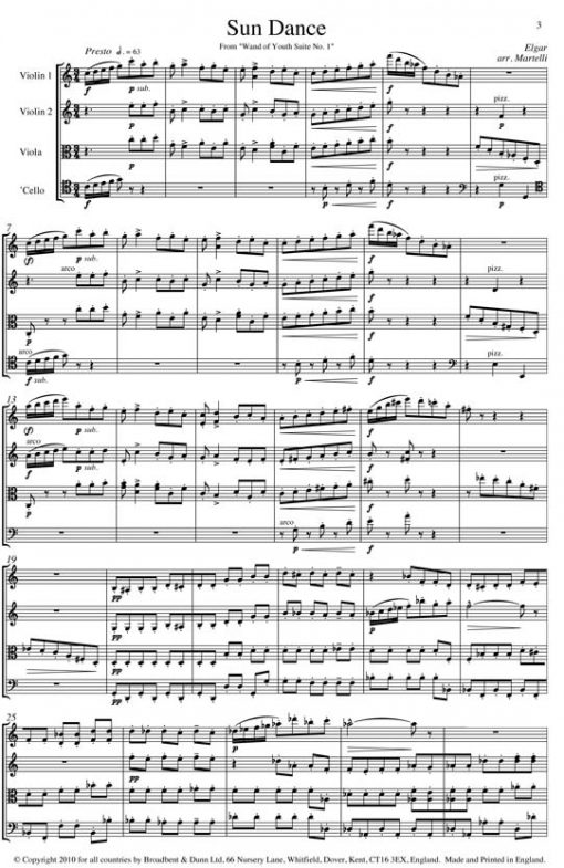 Elgar - Sun Dance from Wand of Youth Suite No. 1 (String Quartet Score) - Score Digital Download