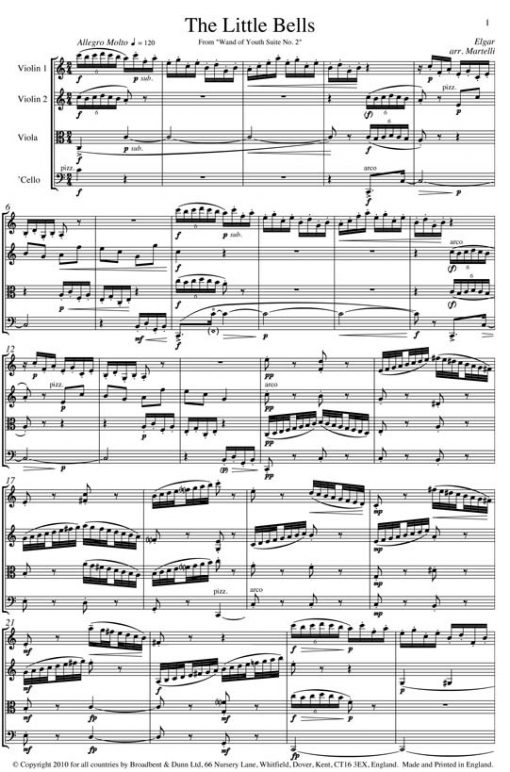 Elgar - The Little Bells from Wand of Youth Suite No. 2 (String Quartet Score) - Score Digital Download