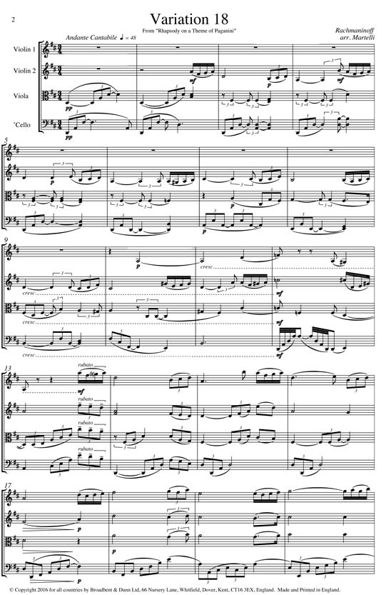 Rachmaninoff - Variation 18 from Rhapsody on a Theme of Paganini (String  Quartet Score) - Score Digital Download