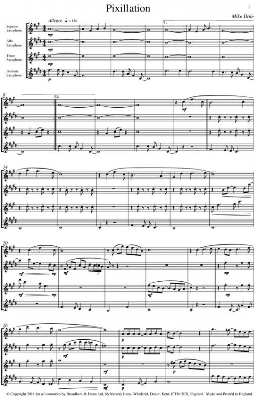 Mike Dale - Pixillation (Saxophone Quartet) - Score Digital Download