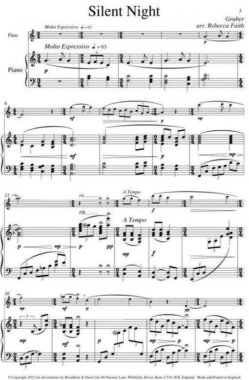 Gruber - Silent Night (Flute & Piano) - Digital Download