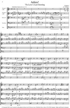 Schubert - Adieu! 'Tis Love's Last Greeting (Brass Quintet) - Score Digital Download