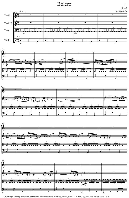 Ravel Bolero String Quartet Score